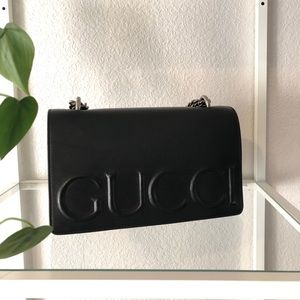 GUCCI XL leather embossed chain strap bag